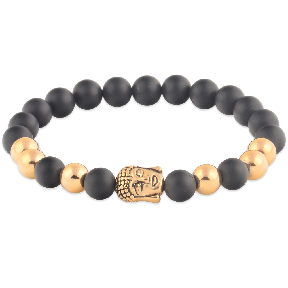 Hand Made Gold Buddha Head Onyx Bead Bracelet