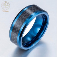 V-COOL Wholesale Fashion Jewelry Tungsten Steel Carbon Fibre Ring for Man OEM Avaliable