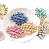 Wholesale Flower Glass Sewing Crystal Gem Stones Flat Back Rhinestone Appliques with Golden Bottom AB Brooches for Wedding Dress
