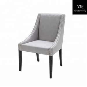 Home Decor High Quality fabric chair, black leg antique low wing back Dining Chair