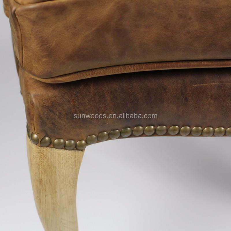 Vintage Französisch Stil Holz Esszimmer Braun Leder Arm Sofa Stuhl