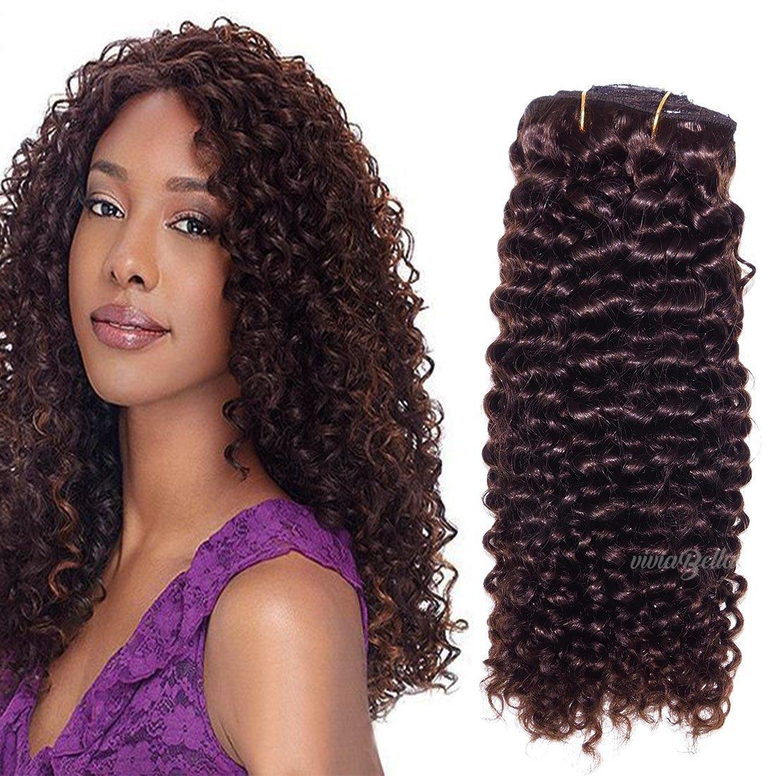 "Dark Brown Jerry Curly Clip In Hair Extensions Unprocessed Human Hair Brazilian Virgin Hair For Black Women 7pcs/lot Clip Ins (120g/set 14"", Dark Brown)"
