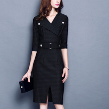 China Wholesale Elegant Office Full Figured Women Lady Dress Fashion OEM Design with Belt