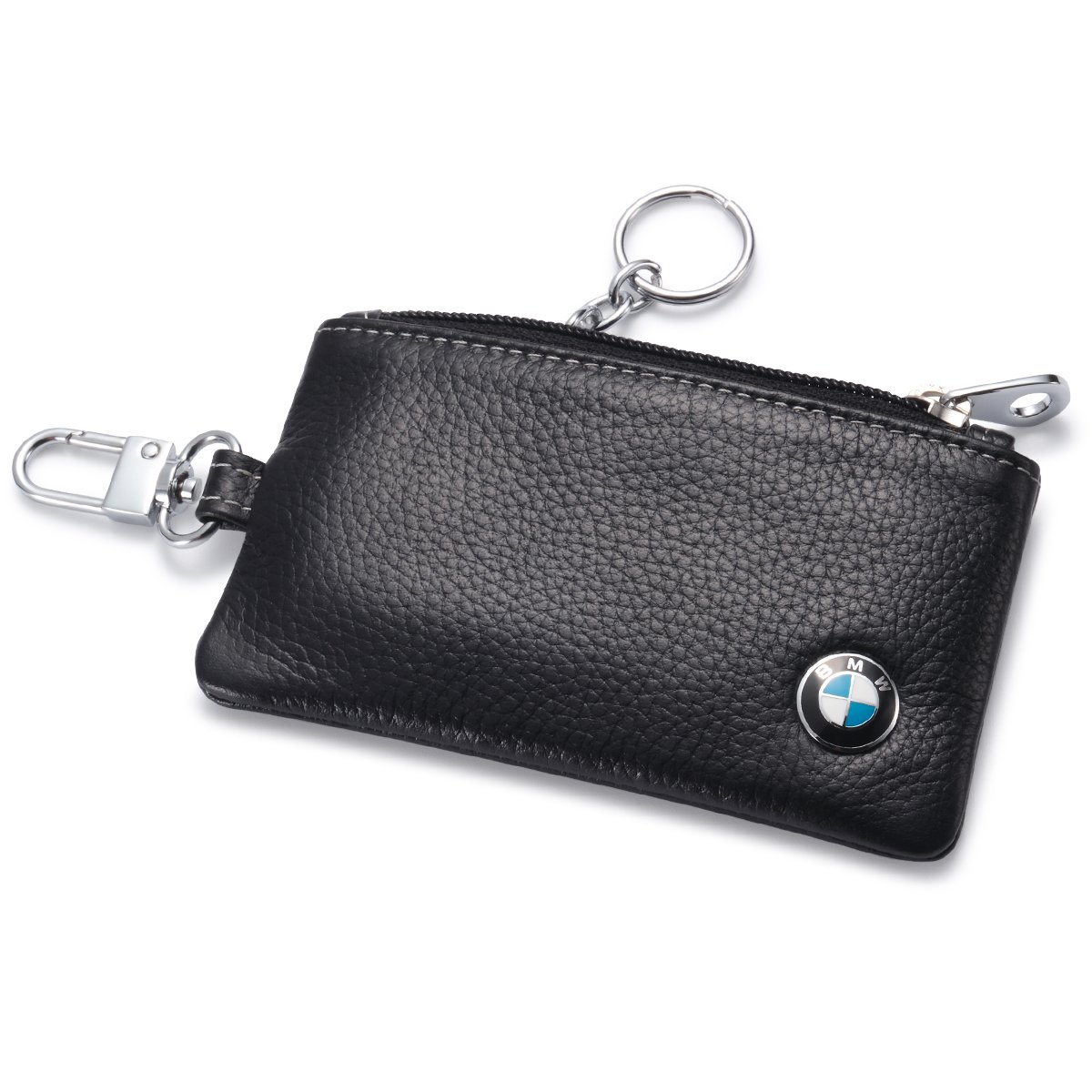 BMW Car Key Holder Remote Cover Fob with 1 Metal Keychain - Genuine Leather