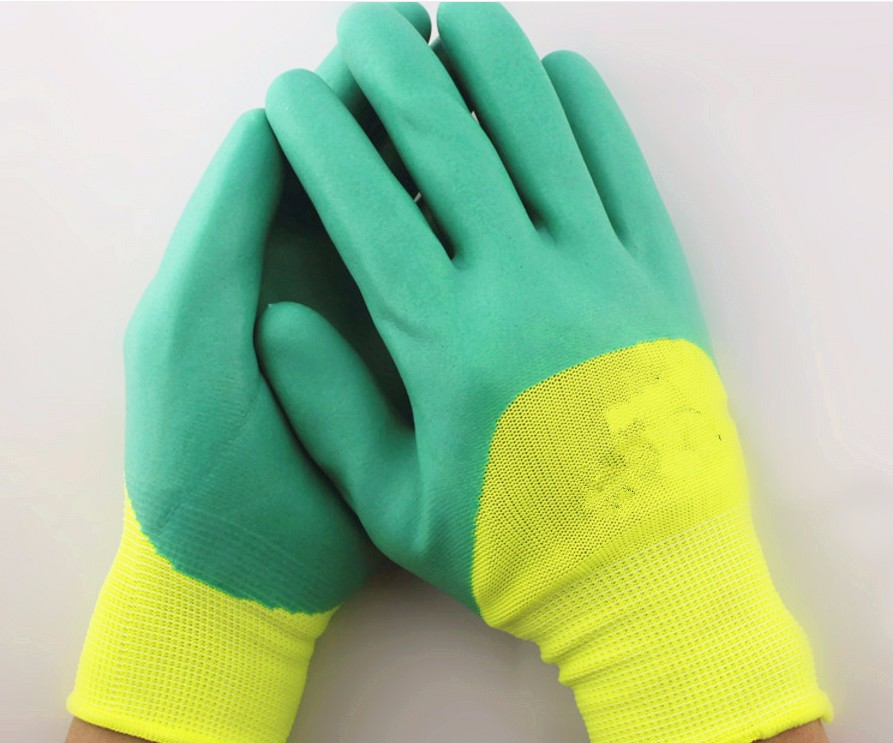 latex coated polyester gloves for safety working Breathable safety hand glove