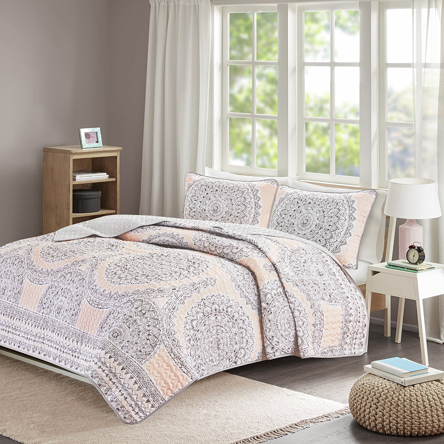 Girls Bedding Sets Twin & Twin Xl - Quilt/Coverlet Set - 2 Pieces - Blush/Pink/Grey - Printed Medallions - Lightweight Twin Size Bedding Sets For Girls - Bedspread Fits Twin & Twin Xl - Adele
