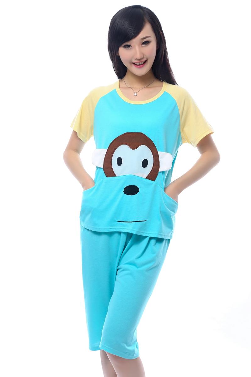 Get Quotations · 2014 new Summer short-sleeve shorts sleepwear female  summer sleepwear female 100% cotton pink 2d394d872