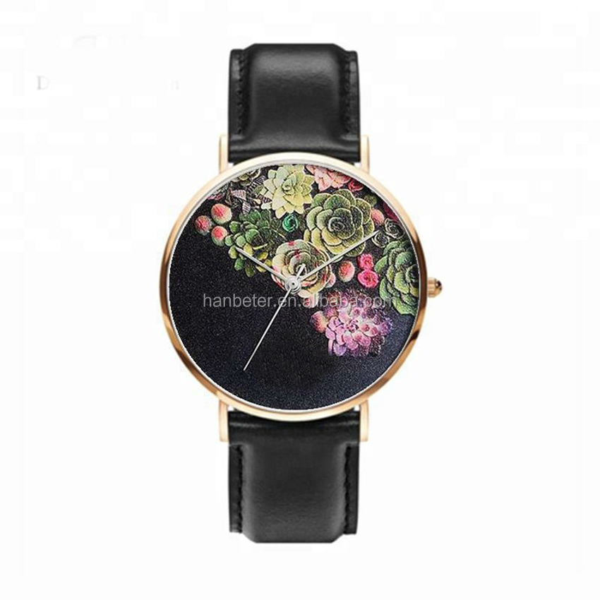 2019 OEM Logo Custom Wrist Watches Stainless Steel Unisex Custom Dial Women Wristwatch Genuine Leather Quartz Watch Wrist ODM