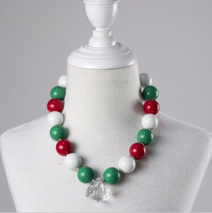 Teething Baby Chunky children pearl necklace big rhinestone christmas necklace