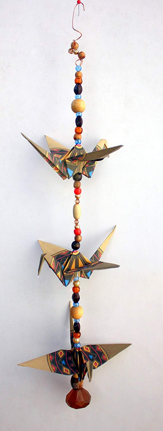 """Good Luck"" Southwestern design crane mobile for indoor decor. approx. 18"" high and 5.5"" wide. A unique handmade origami accent piece."