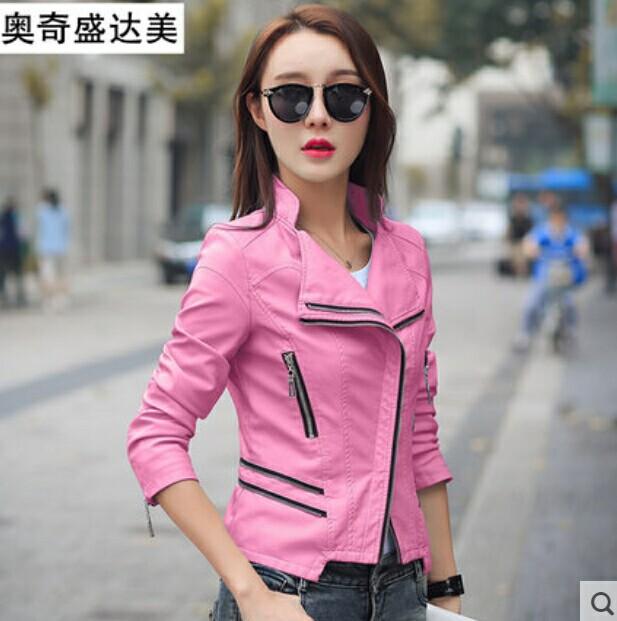 мотоцикл модные женские кожаные куртки 2015 осень короткие тонкий ... b7e8094d45ca0