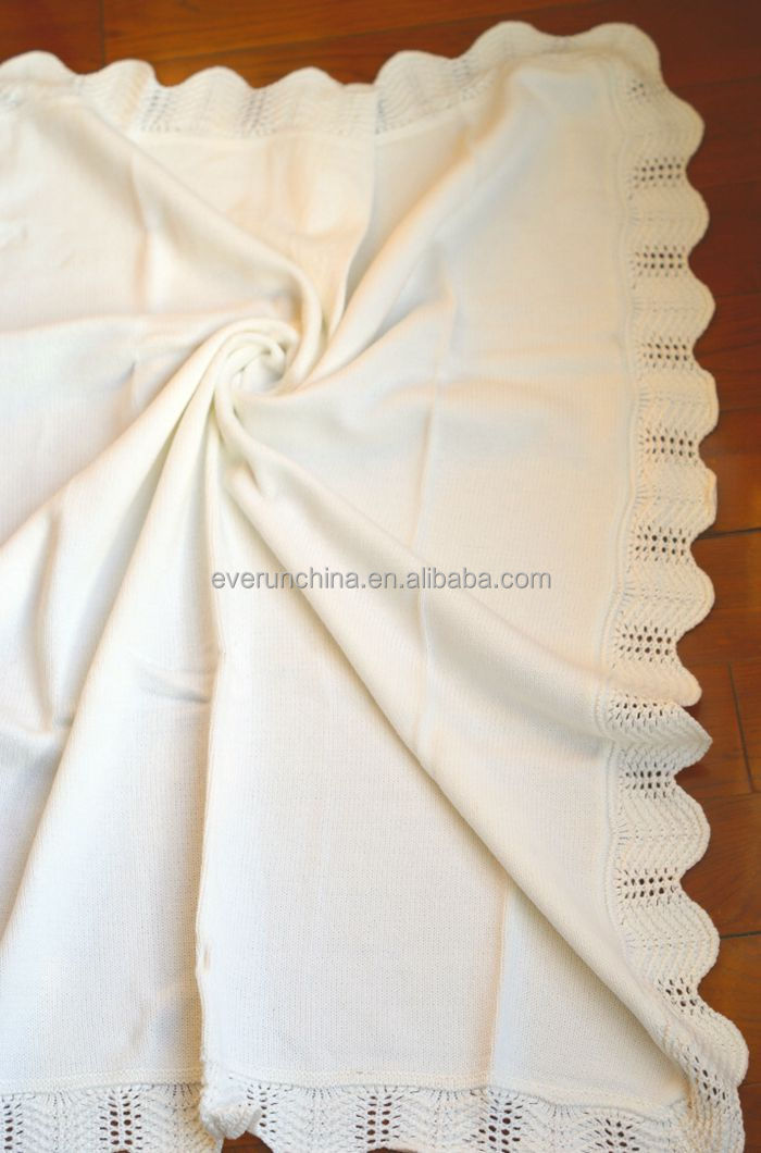 50db76 2 100cotton Plain Knit Baby Handmade Crochet Edge Throw