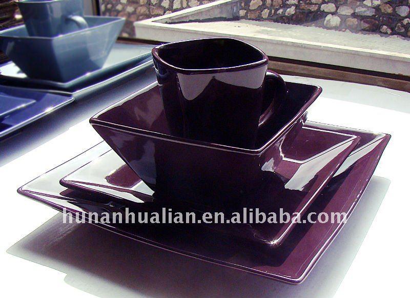 noble purple stock square ceramic dinnerware set & noble purple stock square ceramic dinnerware set View purple ...