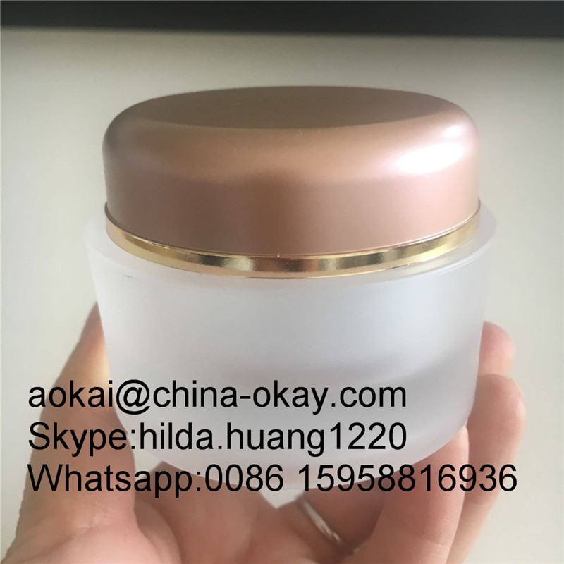50gm 1 7oz Cream Cosmetic Pmma Glass Jar/frost Cosmetic Packaging Jar With  Rose Gold Lid - Buy 50gm 1 7oz Cream Cosmetic Pmma Glass Jar,Frost Cosmetic