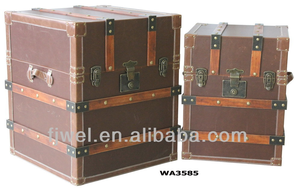 Vintage Brown Leather Square Trunk Side Tables Narrow Table Cube Bed Product On Alibaba
