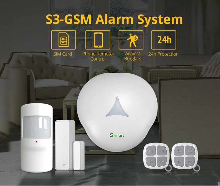 Smart hub S3-GSM GSM home security alarm system with 2G/3G competiable 868mhz Simcard mobile card network based Smart phone App
