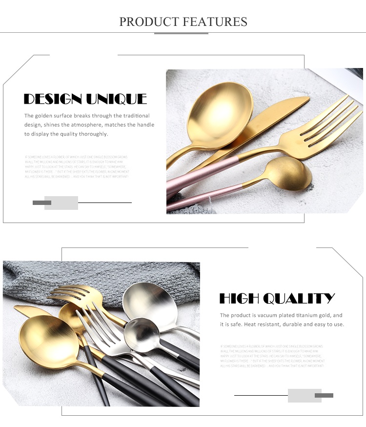 Jieyang 18/10 Stainless Steel Gold Silver Plated Cutlery Tableware Flatware