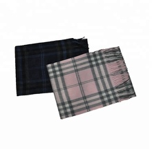 high quality scotland style checked real cashmere wool scarf muffler