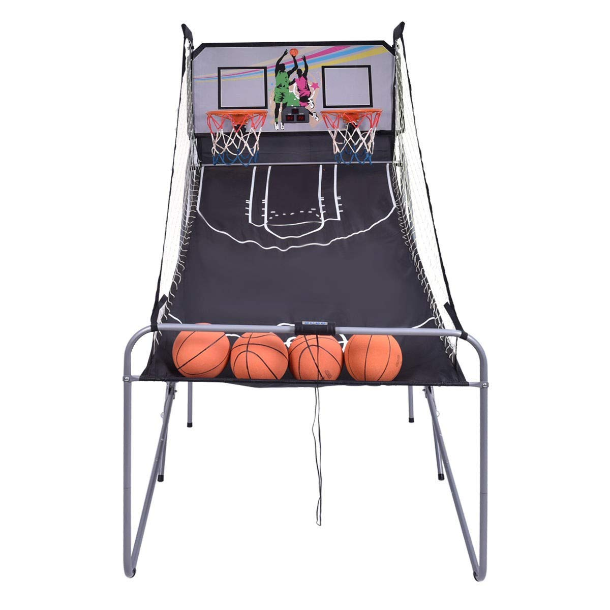 BeUniqueToday Indoor Double Electronic Basketball Game with 4 Balls, Double Shot Electronic Basketball Game with Sound Effects, Basketball with Electronic Score Board with Dual Display