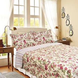 [Summer Flowers-Ivory] 100% Cotton 3PC Classic Floral Vermicelli-Quilted Quilt Set (Full/Queen Size)