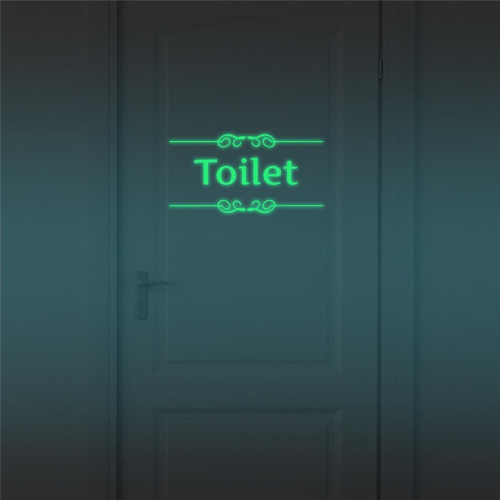 Iuhan Removable New Toilet Household Symbol Home Room Wall Sticker Mural Decor Decal (Green)