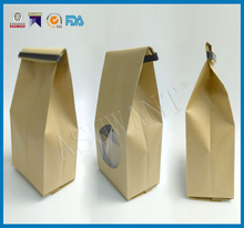 Custom brown plastic lined kraft paper food packaging paper bags bag with window
