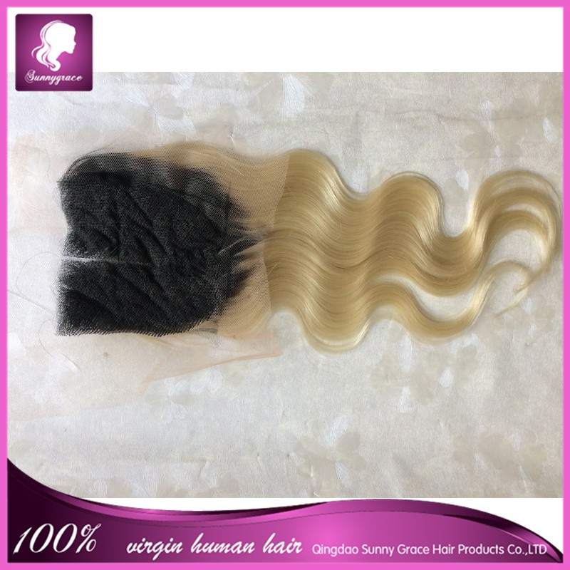 cheap human hair lace closure 1b/613 blonde ombre hair extension lace closure
