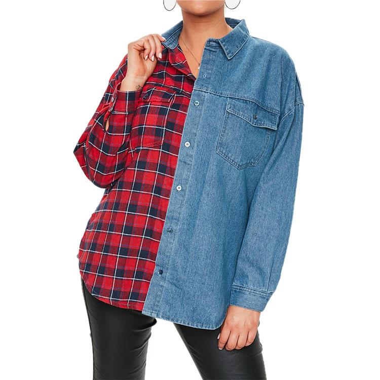 f30e2aeac6 Fancy Denim Shirt Women Long Sleeve Ladies Denim Shirt Blouse Tops Wholesale