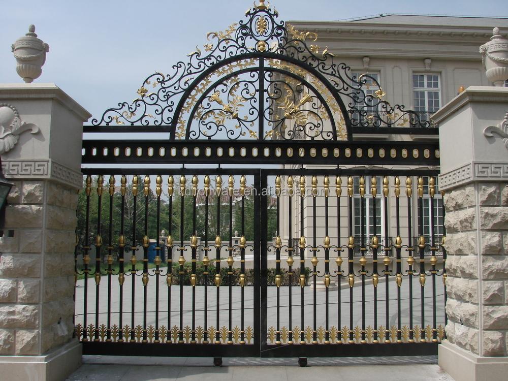 Popular Swing Open Ornamental Wrought Iron House Gate Grill ...