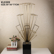 Home decoration pieces metal craft abstract electroplated gold display sculpture