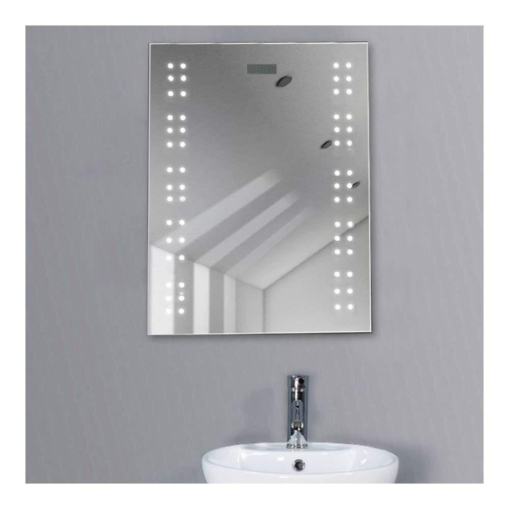 Get Quotations · Bathroom Illuminated Mirror Led Light Sensor Demister  Shaver Clock Wall Mounted