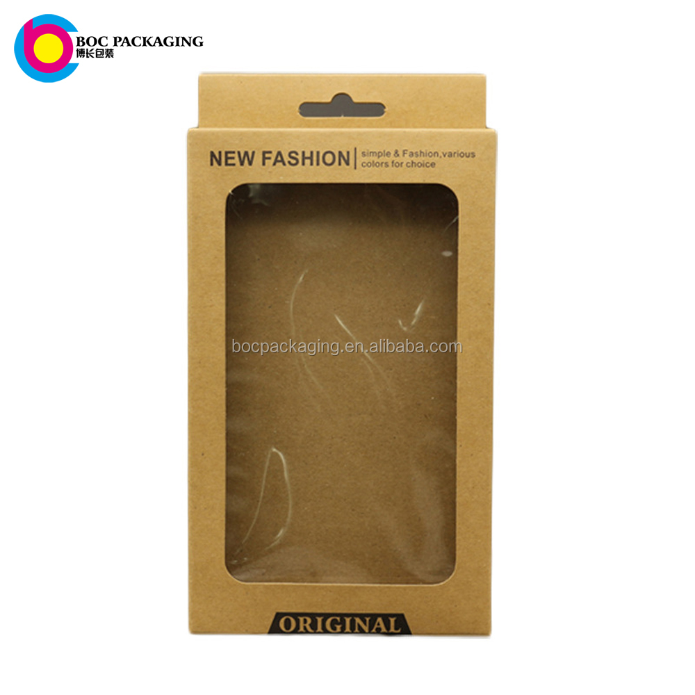 China Low MOQ folding hang tab brown kraft paper box customized with window