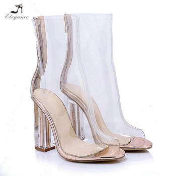 43e1a118c68 New Sandals Shoes Women Latest Ladies Peep Toe Clear Heel Boots Lady  Transparent Chunky High Heel