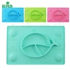 Personalized Different Colors Silicone Baby Plate Gift Dining Tableware Placemat With Suction