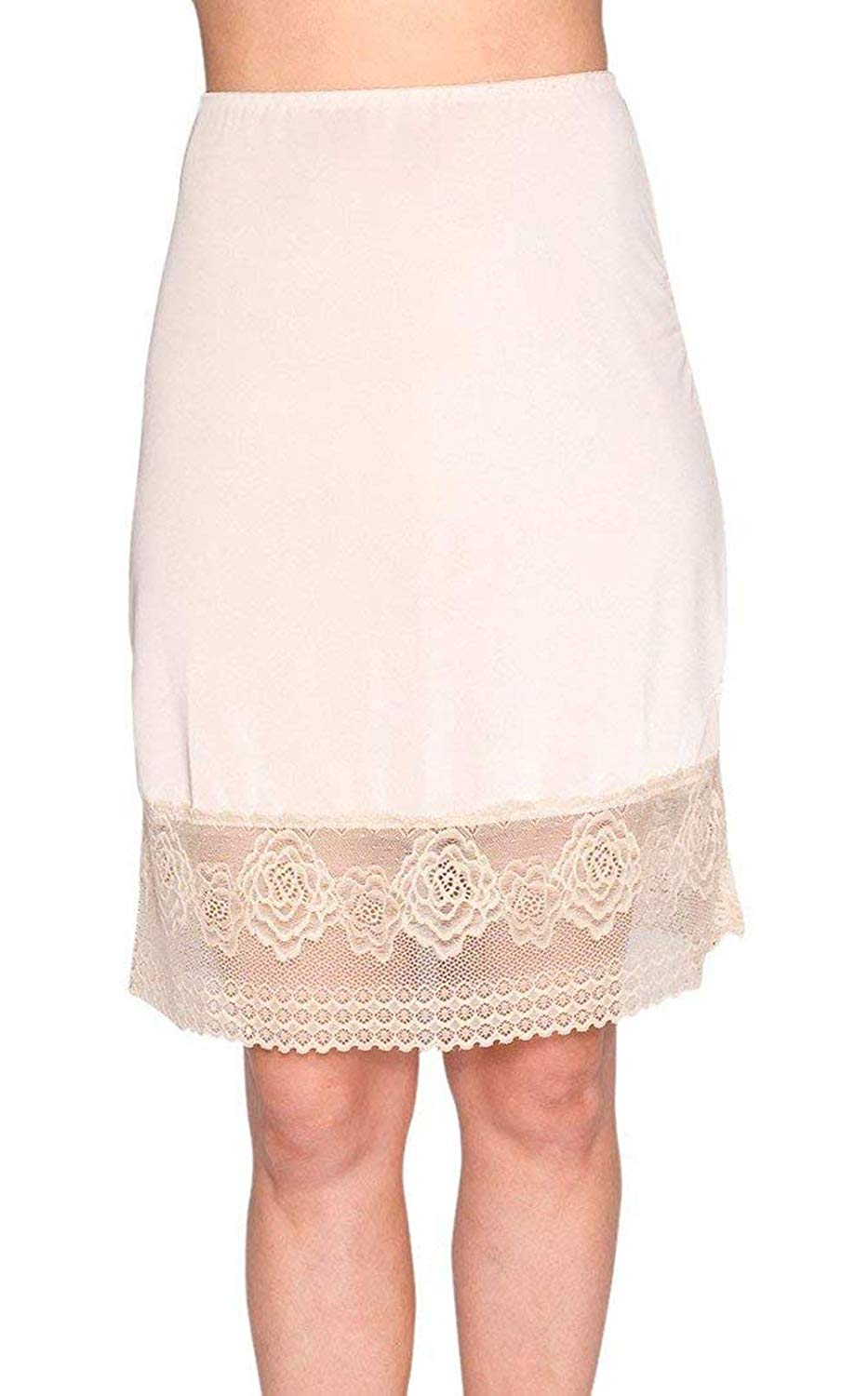 Ma.Lina.Ann Women Anti-Static Lace Trim Snip-it Half Slip Petticoat Slip for Underskirt