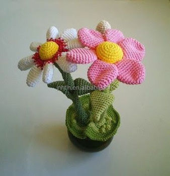 цветные ручной работы вязаные цветы с глиняный горшок Buy вязаные
