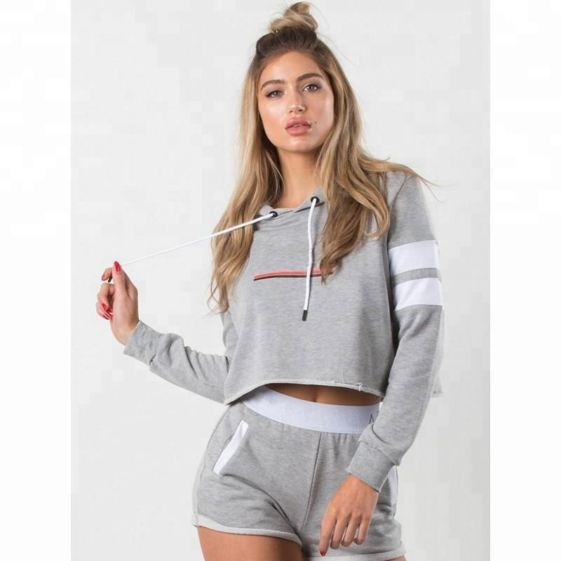 Womens Fitness Sports Wear GYM benutzerdefinierte kühlen Crop Top Hoodies