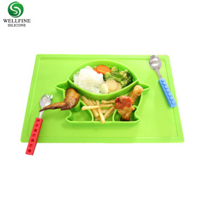 BPA Free, Heat-Resistant and Soft Baby Feeding Mat Silicone Baby Plate with Placemat For Babies Toddlers and Kids