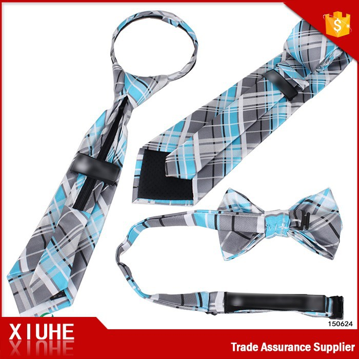 100% polyester woven kids tie with zip