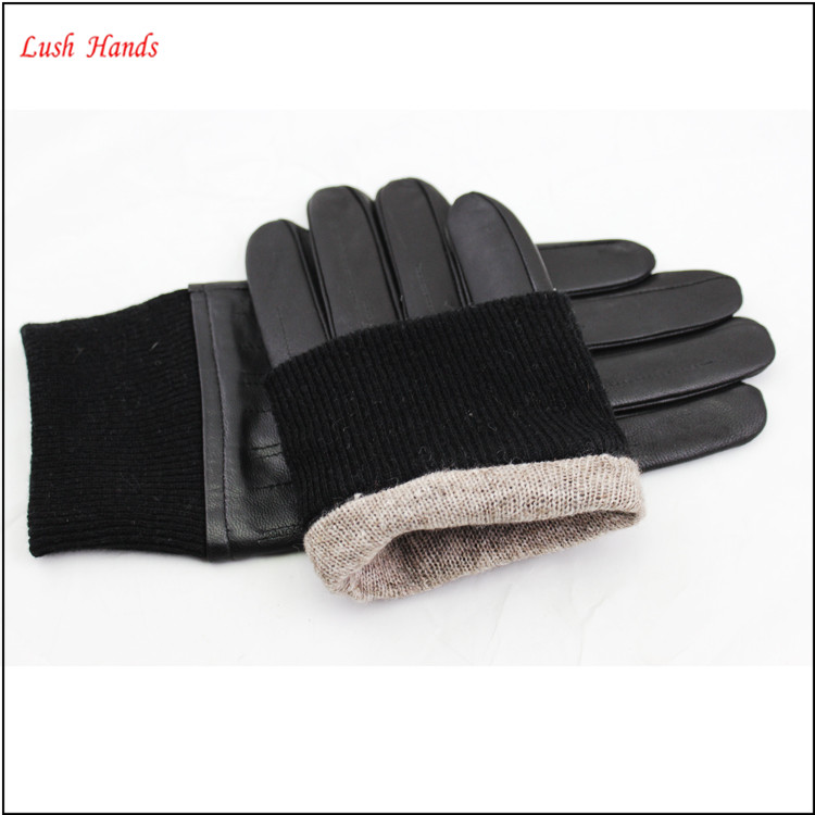 Leather gloves for men with wool knit cuff make you warm