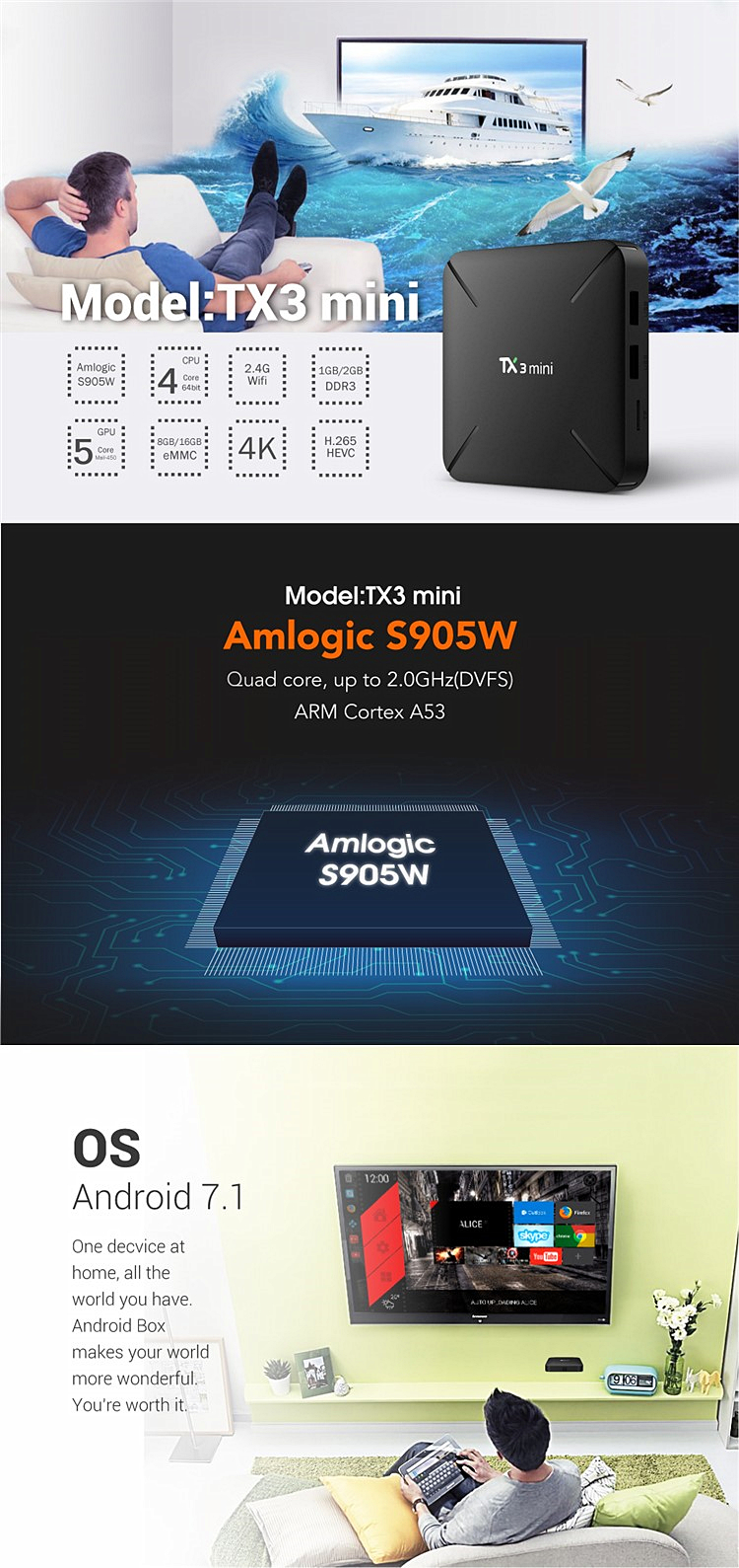 Mejor oferta TX3 mini-H 2 GB 16 GB Amlogic S905W Quad Core 2,4 GHz WiFi Android 7,1 caja de Tv