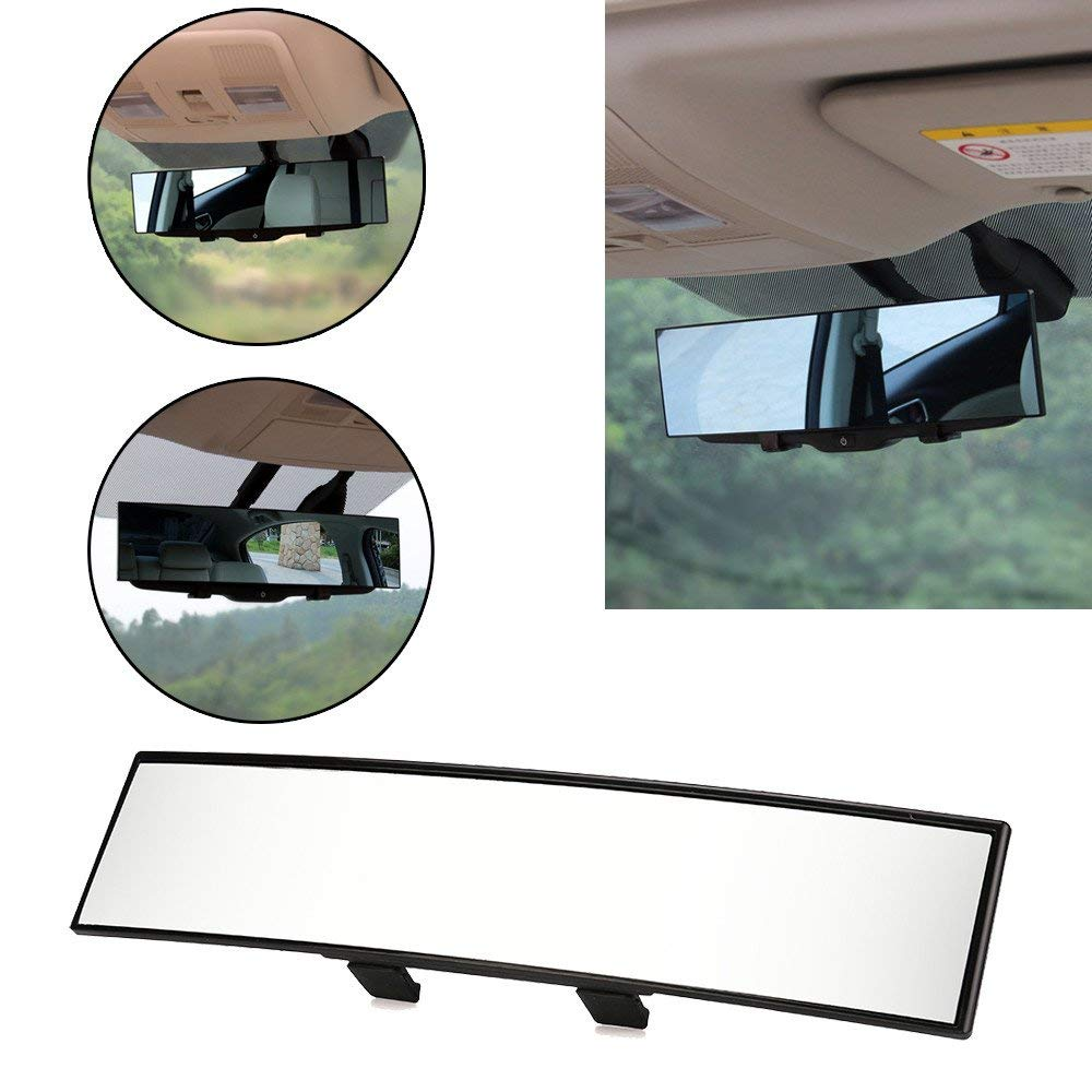 Quaanti Car Rearview Mirror Universal Large Vision Car Proof Mirror Outlook Interior Car Wide Angle Interior Rearview Mirror (Black)