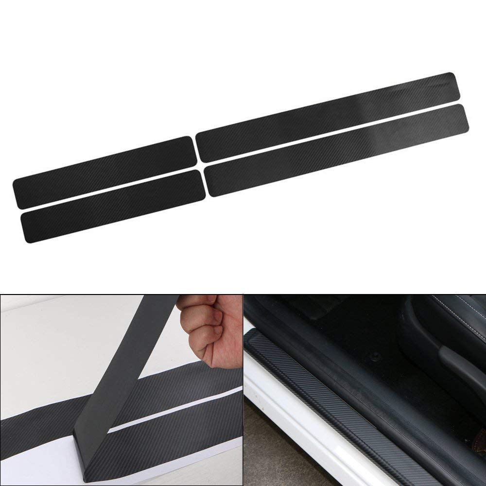 Car Accessories Door Sill Scuff Welcome Pedal Protect Carbon Fiber Sticker,4PCs