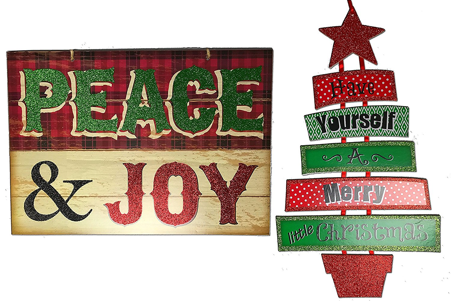get quotations christmas decorations for your home set of 2 wooden christmas signs peace - Wooden Christmas Signs