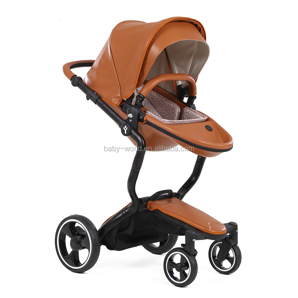 Multi Function Leather Baby Stroller With En1888 Roved