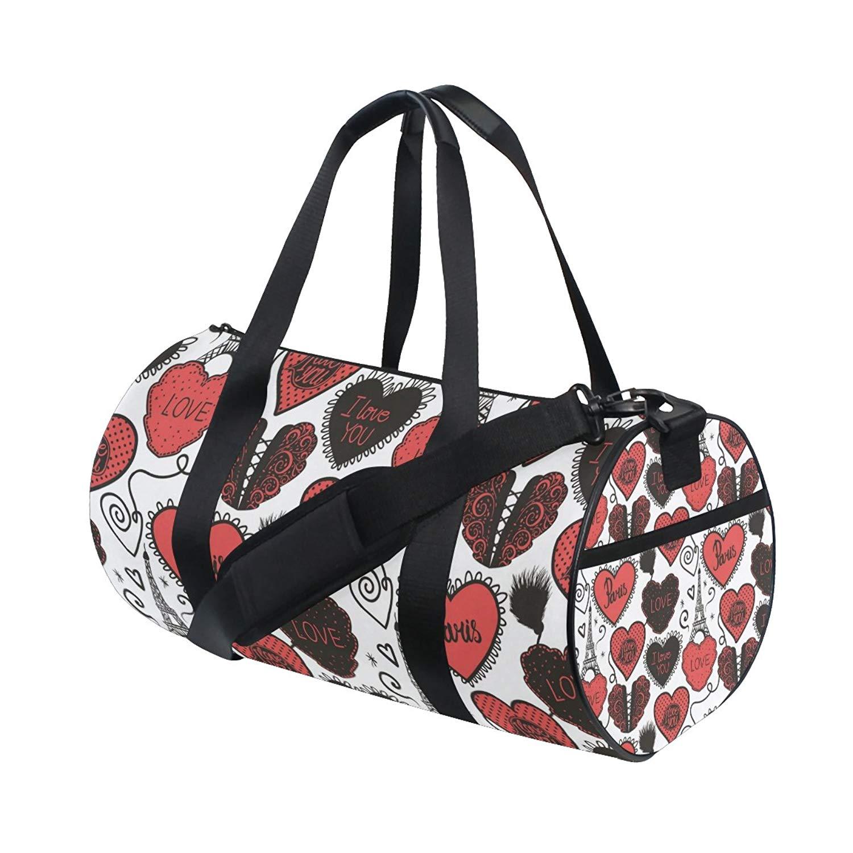 Get Quotations · Gym Duffel Bag Eiffel Tower Love Heart Sports Lightweight  Canvas Travel Luggage Bag 4c08eef725736