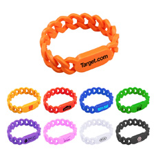 """Supply party or event recognition colorful rectangle shaped part OEM logo printed great quality  low price 1/2"""" silicone bangle"""