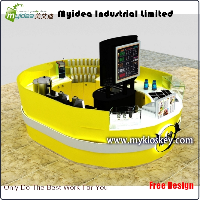 Azaming yellow bubble tea kiosk fresh juice bar kiosk design