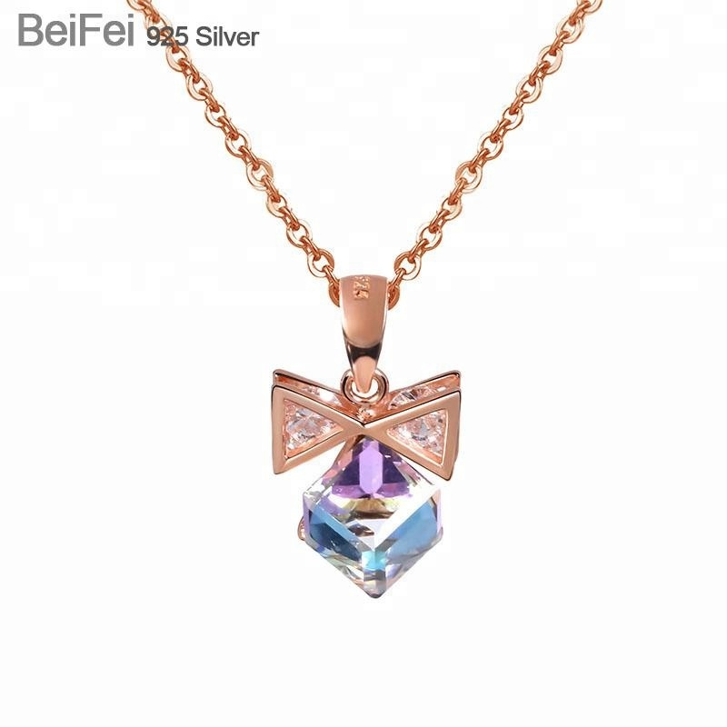 <strong>Fashion</strong> new design rose gold women jewelry bowknot austrian crystal pendant