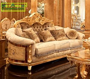 OE-FASHION Luxury classic italian living room european wood carving sofa set